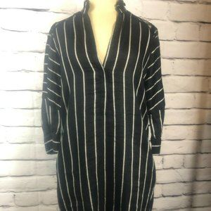 Sandro Paris Black White Striped Linen Mini Dress